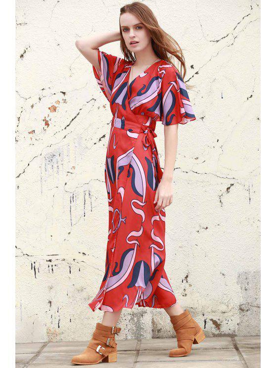 Résumé Imprimer plongeant cou robe à manches papillon - Rouge L