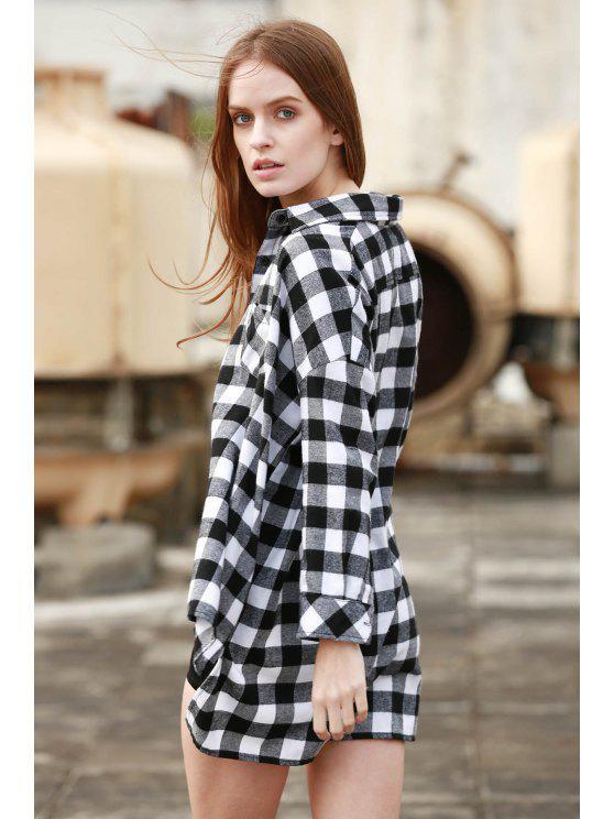 lady Plaid Long Sleeve Boyfriend Shirt - WHITE AND BLACK M