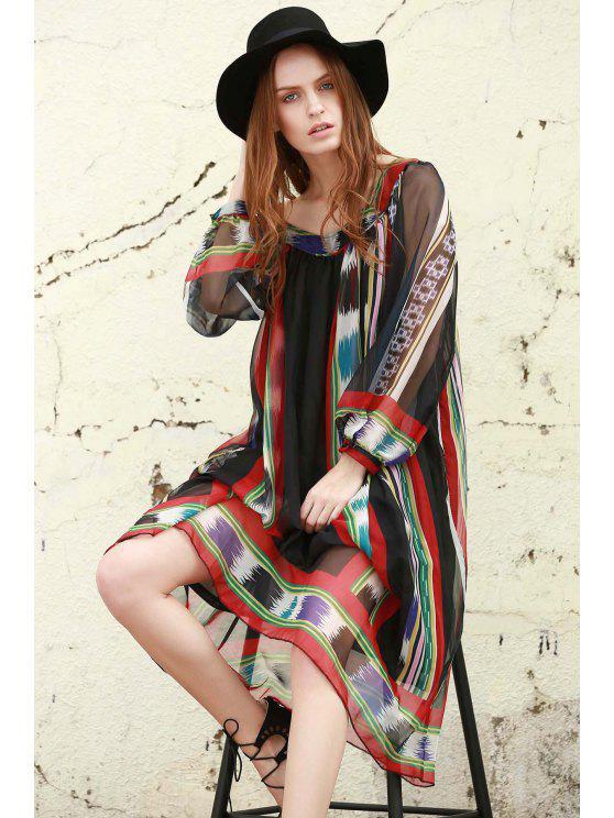 buy Print Chiffon Long Sleeves Tunic Dress - BLACK S