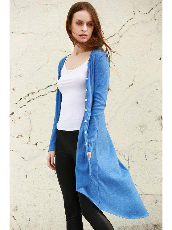 Azul con cuello en V manga larga Cardigan - Azul L