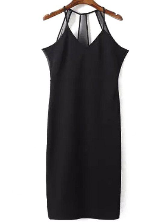 Sleeveless Solid Color Etuikleid - Schwarz L