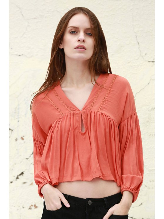 Solide Couleur V Long Neck Blouse manches bouffantes - Tangerine M