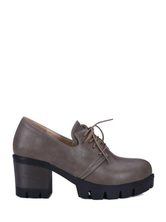 shops Lace-Up Platform Chunky Heel Pumps - GRAY 39