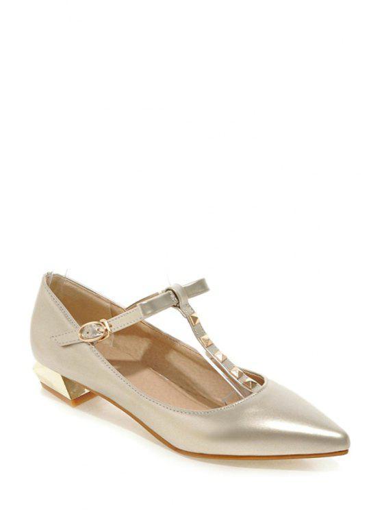 best T-Strap Rivet Pointed Toe Flat Shoes - GOLDEN 36
