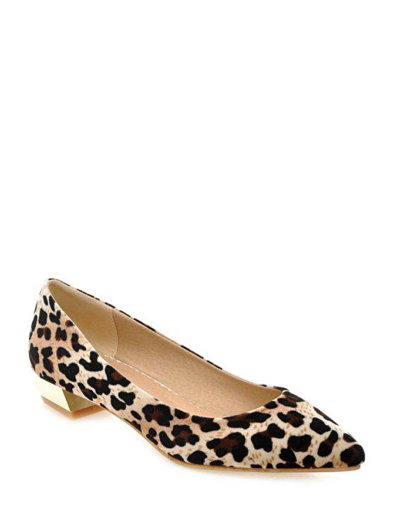 7b11c4d4417 Leopard Print Suede Pointed Toe Flat Shoes RED YELLOW