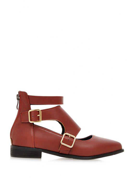 Buckles Hollow Out Zip Flat Shoes - Rouge 39