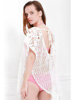 Hollow Out Slit Cover-Up - White L