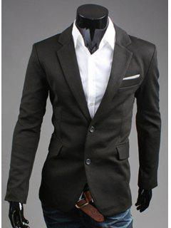 Turn-Down Collar Color Block Splicing Long Sleeve Men's Blazer - Black 2xl