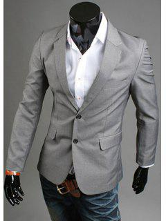 Elegante Turn-Down Collar Color Puro Larga Chaqueta De Manga Hombres Delgados Fit - Gris Xl