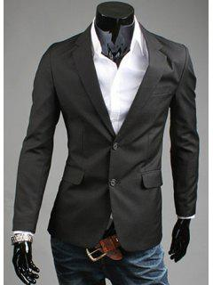 Elégant Turn-Down Collar Pure Color Longue Blazer Manches Slim Fit Hommes - Noir 2xl