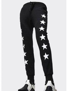 Beam Feet Stars Pattern Letter Print Lace-Up Men's Pants - Black 28