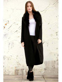 Missguided Wool With Big Fur Collar Coat - Black S