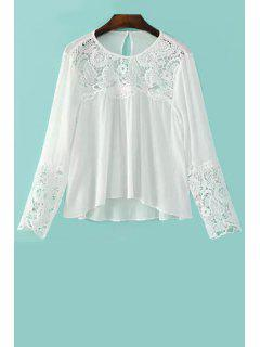 Splicing Dentelle Col Rond Manches Longues Blouse - Blanc S