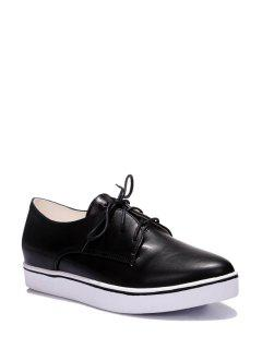 Star Lace-Up Solid Color Flat Shoes - Black 36