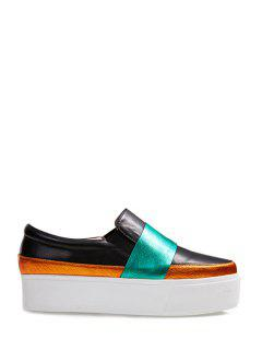 Color Block Elastic Slip-On Platform Shoes - Black 37