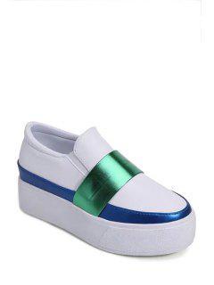 Color Block Elastic Slip-On Platform Shoes - White 38