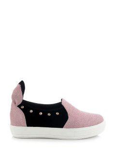 Rabbit Ears Color Block Rivets Flat Shoes - Pink 39