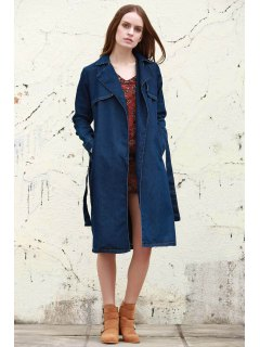 Denim Lapel Trench Coat - Deep Blue S