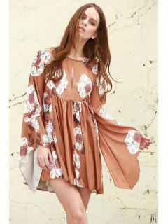 Floral Keyhole Neckline Long Sleeves Dress - Earthy S