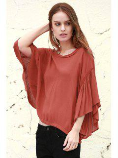 Ruffles Spliced V Neck 3/4 Sleeve Blouse - Brick-red S