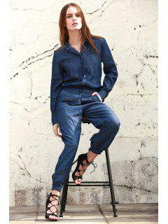 Denim Turn Down Collar Long Sleeve Jumpsuit - Blue M
