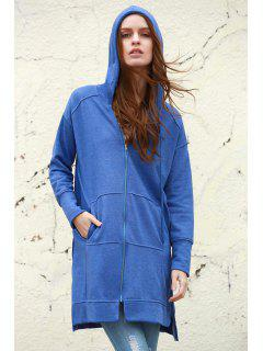 Ziggy Washed Solid Color Hoodie - Blue M