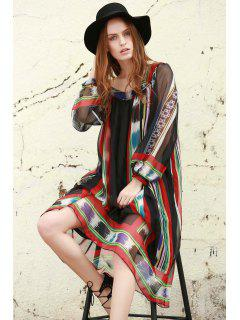 Print Chiffon Long Sleeves Tunic Dress - Black S