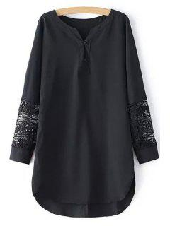V-Neck Combined Lace Long Chiffon Shirt - Black M