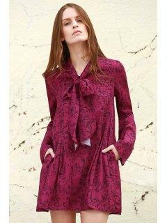 Manches Longues Petite Robe à Imprimé Fleurs - Pourpre S