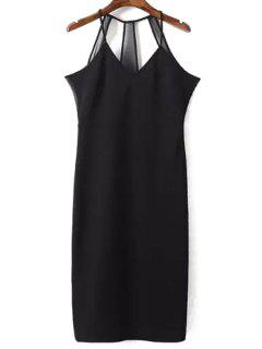 Sleeveless Solid Color Sheath Dress - Black L