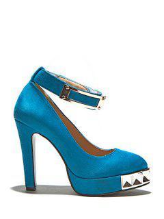 Suede Metal Ankle Strap Pumps - Blue 39