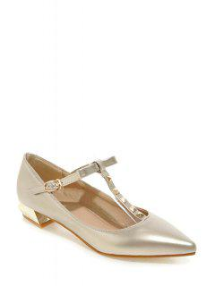 T-Strap Rivet Pointed Toe Flat Shoes - Golden 36