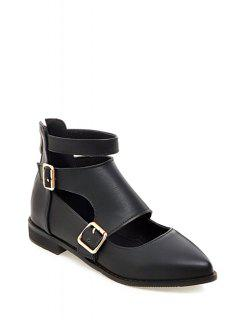 Buckles Hollow Out Zip Flat Shoes - Black 37