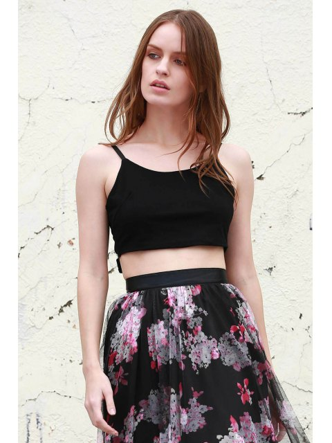 outfit Self Tie Cami Cropped Tank Top - BLACK S Mobile
