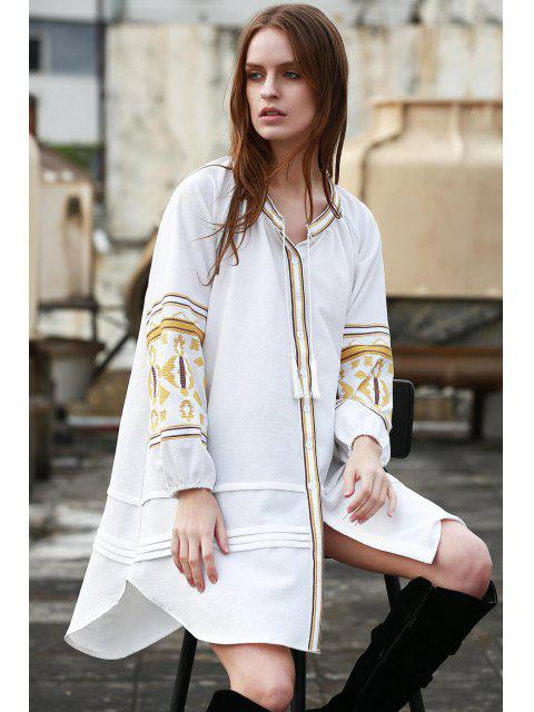 hot Embroidery Stand Neck Long Sleeve Dress - OFF-WHITE M Mobile