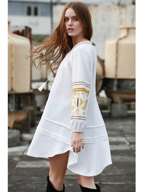 new Embroidery Stand Neck Long Sleeve Dress - OFF-WHITE S Mobile