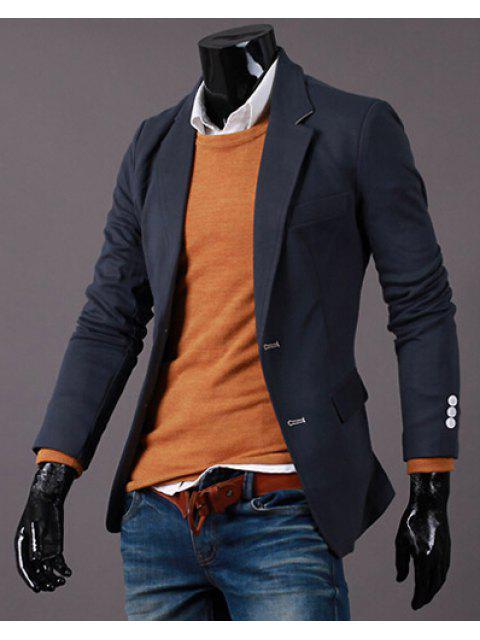 Drehen-Unten Kragen Pure Color Long Sleeve Abnehmen Blazer der Männer - Dunkelgrau 2XL Mobile