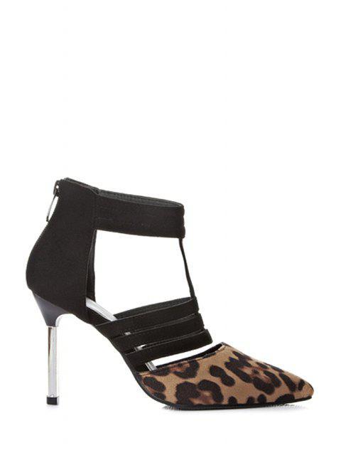 outfit Leopard Print Hollow Out Suede Pumps - LEOPARD 37 Mobile