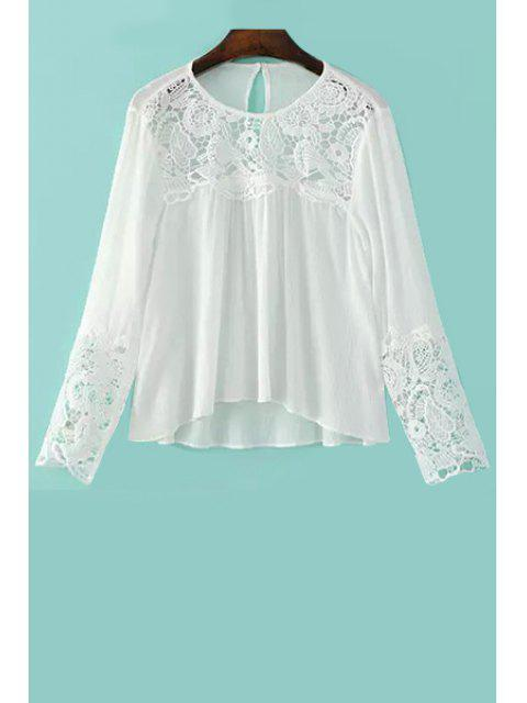 Lace Splicing Round Neck Langarm Bluse - Weiß L Mobile
