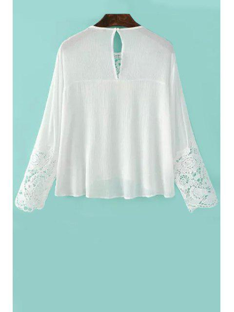 Splicing dentelle col rond manches longues Blouse - Blanc L Mobile