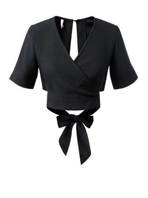 Negro Bowknot cuello en V manga corta blusa - Negro L Mobile