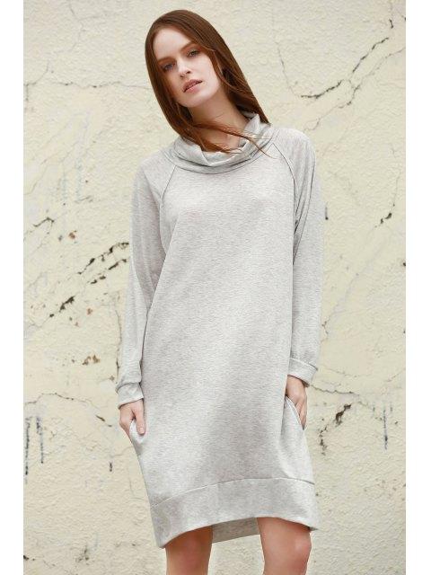 women Heaps Collar Loose Dress - GRAY XL Mobile