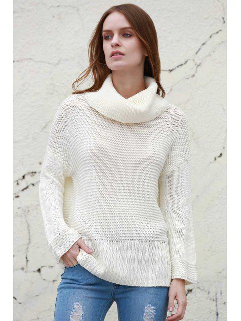chic Split Turtleneck Pullover Sweater - WHITE M Mobile