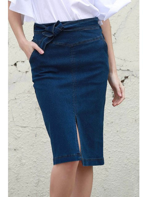 women Denim High Waisted Pencil Skirt - BLUE L Mobile