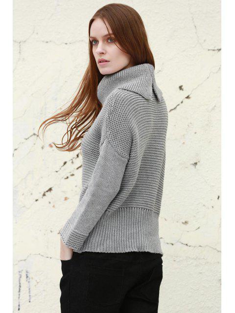 unique Split Turtleneck Pullover Sweater - LIGHT GRAY S Mobile