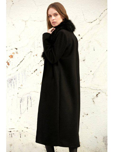 chic Missguided Wool with Big Fur Collar Coat - BLACK S Mobile