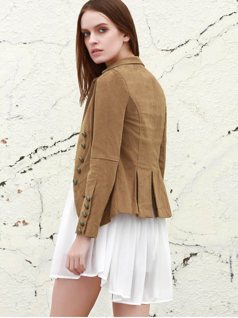 womens Lapel Structured Washed Blazer - LIGHT COFFEE S Mobile