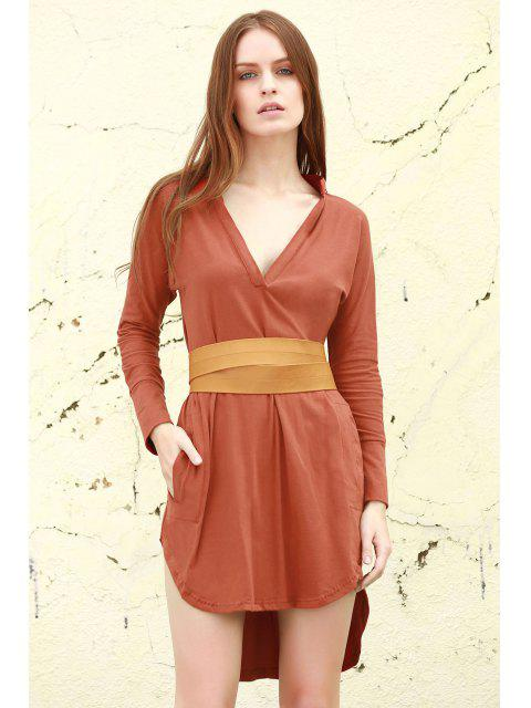 latest Plunge Belted High Low Dress - BROWN L Mobile