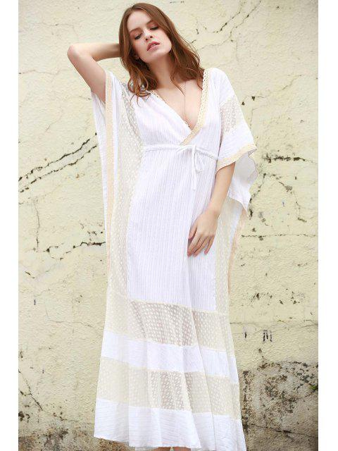 shop Plunge Mesh Panel Maxi Dress - WHITE M Mobile