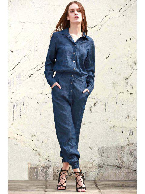 Denim Turn Down Collar manches longues Jumpsuit - Bleu M Mobile